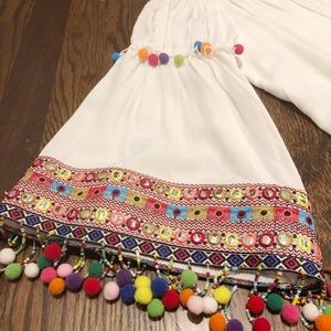 Anthropology/ Stellah White Dress with Pom Detail